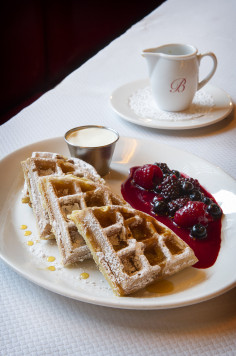 Balthazar - Hazelnut waffles with warm berries, creme fraiche and Canadian maple syrup 1 by Sim Canetty-Clarke